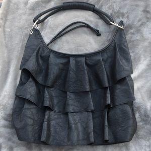 Handbags - Black 3-Tier Ruffled Purse with Zipper Closure
